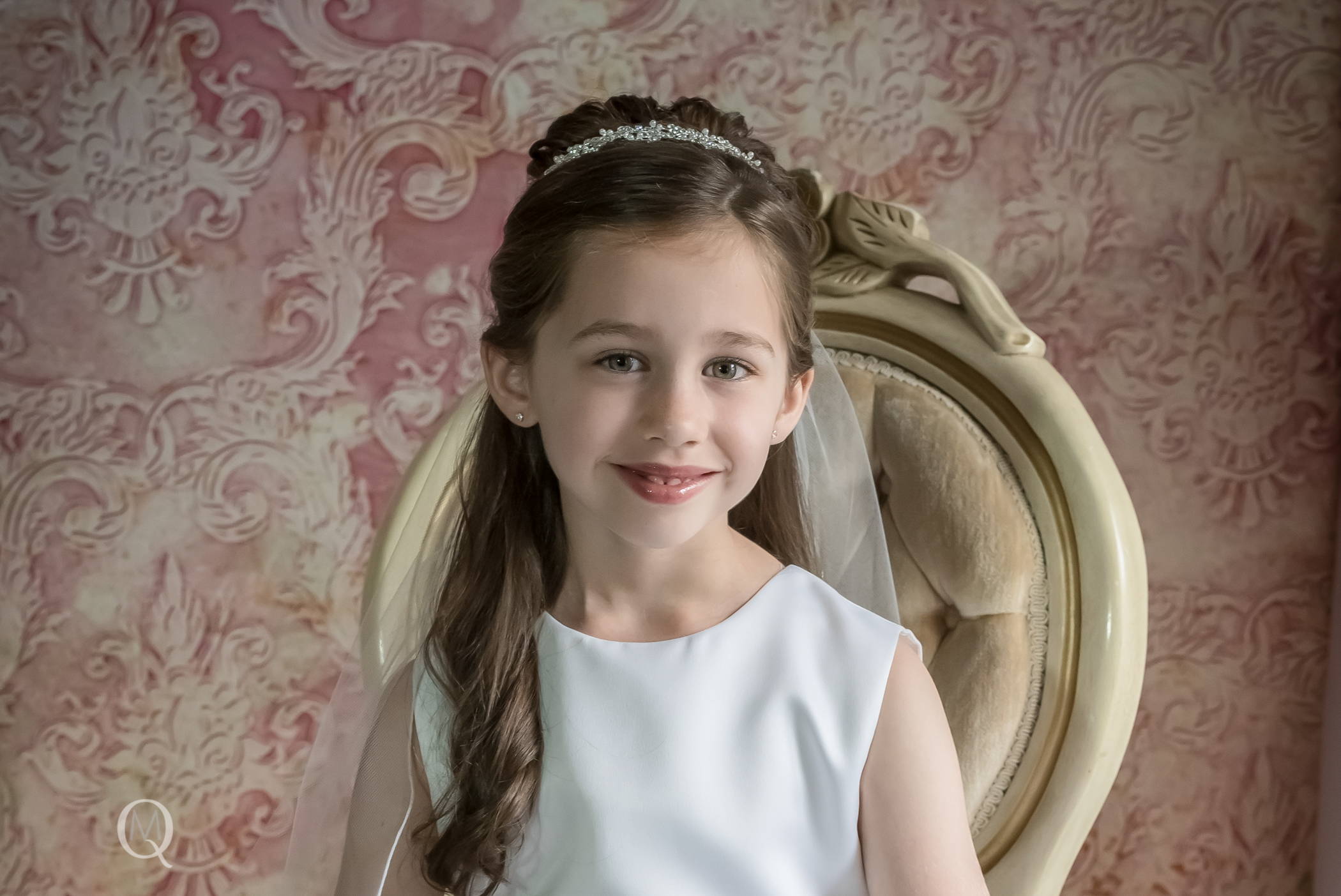 First Communion Picture of Child in South Jersey Photography Studio