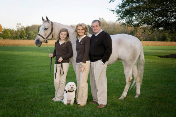 Family with horse in Moorestown New Jersey